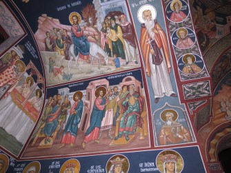 Saint Spyridon, in iconography of  Orthodox Churches from Bucharest